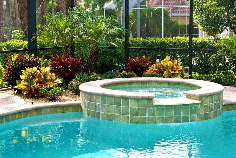 Pool cage landscaping inside and out r r landscaping for Florida hot tubs