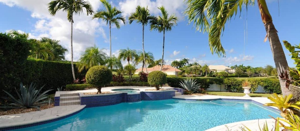 A luxury pool in a neighborhood in Florida.