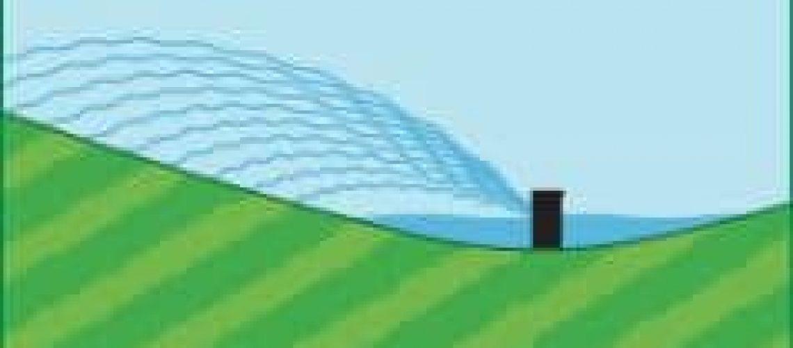 sprinkler on a slope